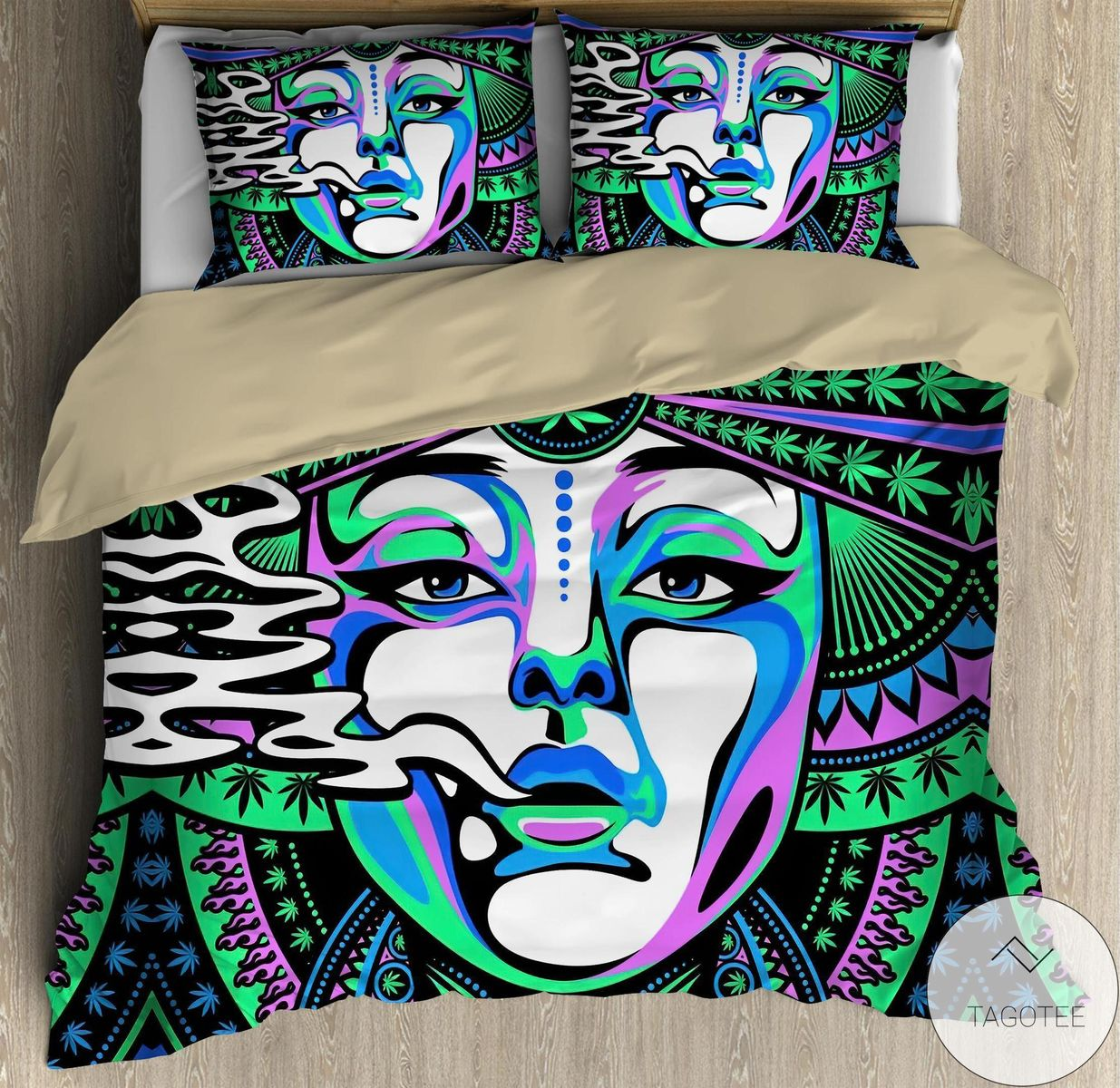 Beautiful Face Hippie Girl Bedding Setz