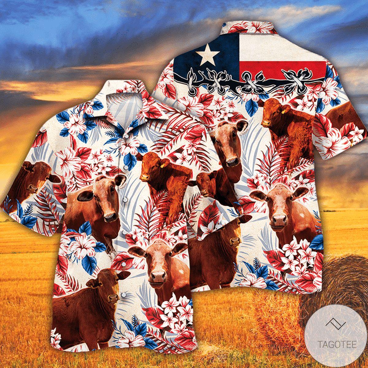 Top Rated Beefmaster Cattle Lovers Texas Flag Hawaiian Shirt