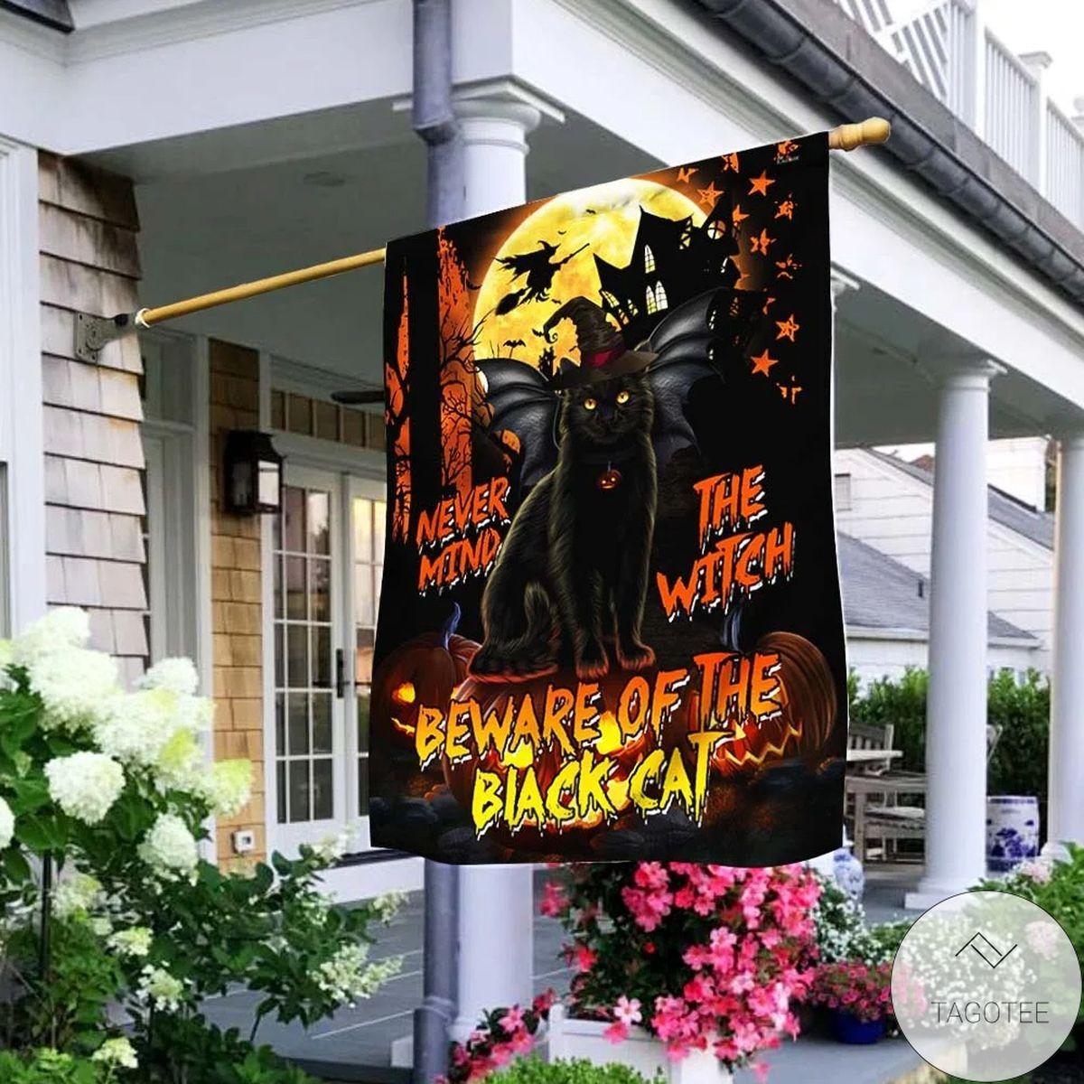 Beware Of The Black Cat Halloween House Flag
