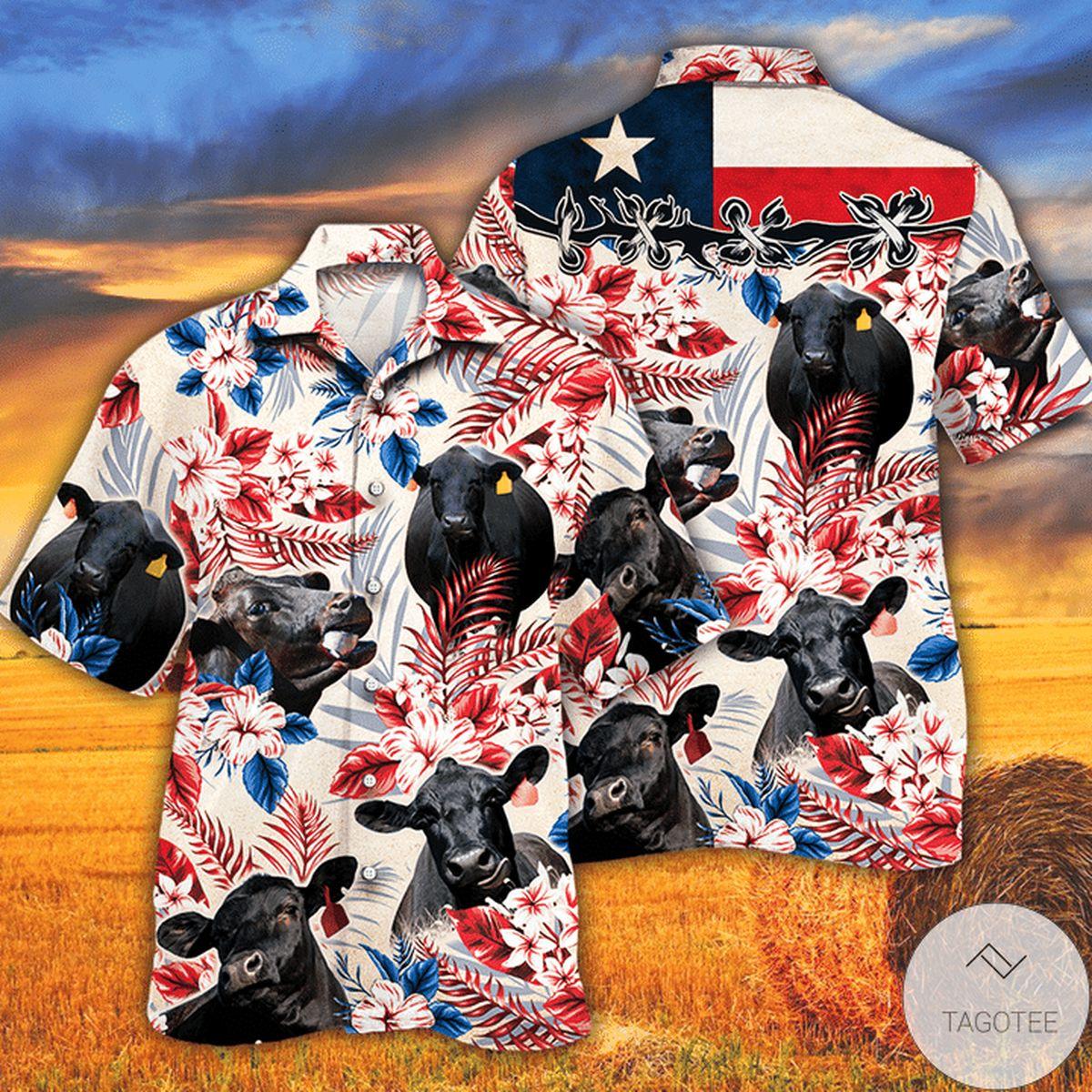 Black Angus Cattle Lovers Texas Flag Hawaiian Shirt