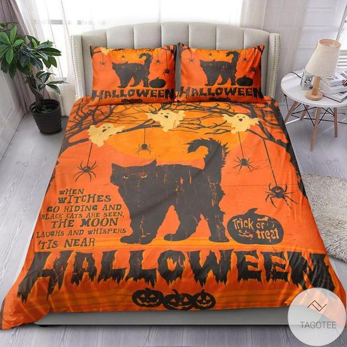Black Cat Halloween Trick Or Treat Bedding Set