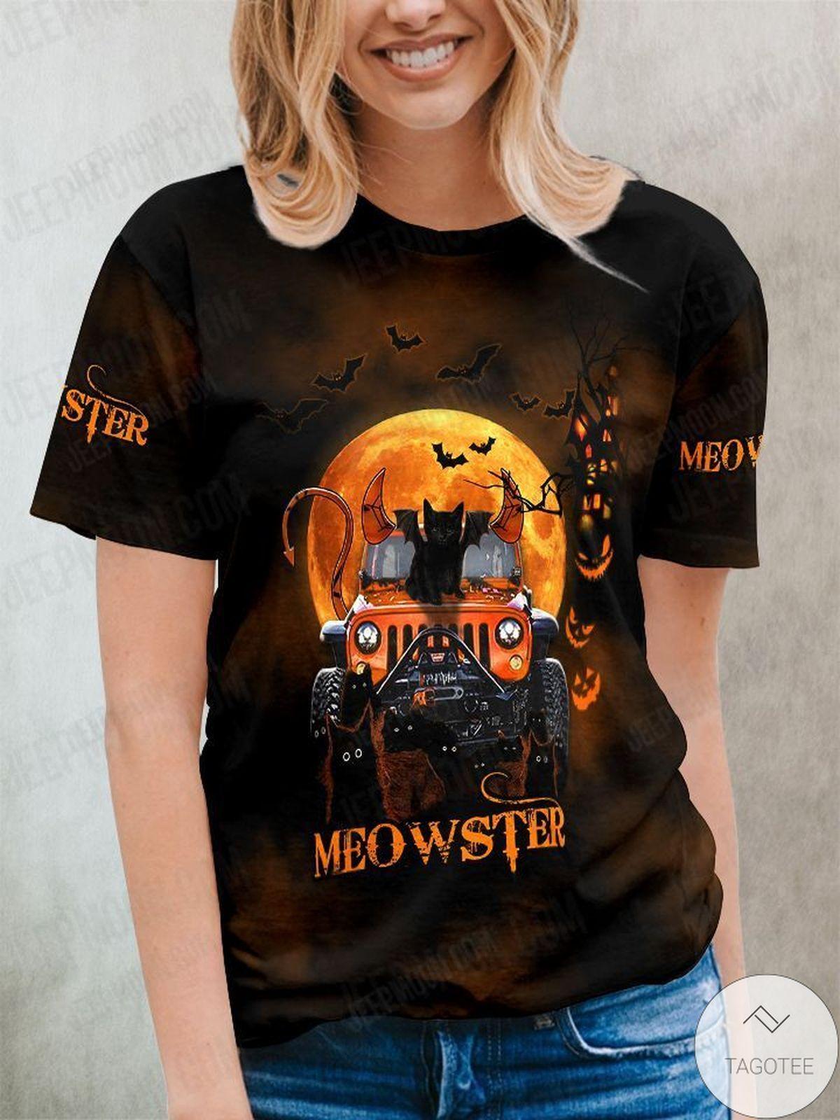 New Black Cat Meowster Halloween Shirt