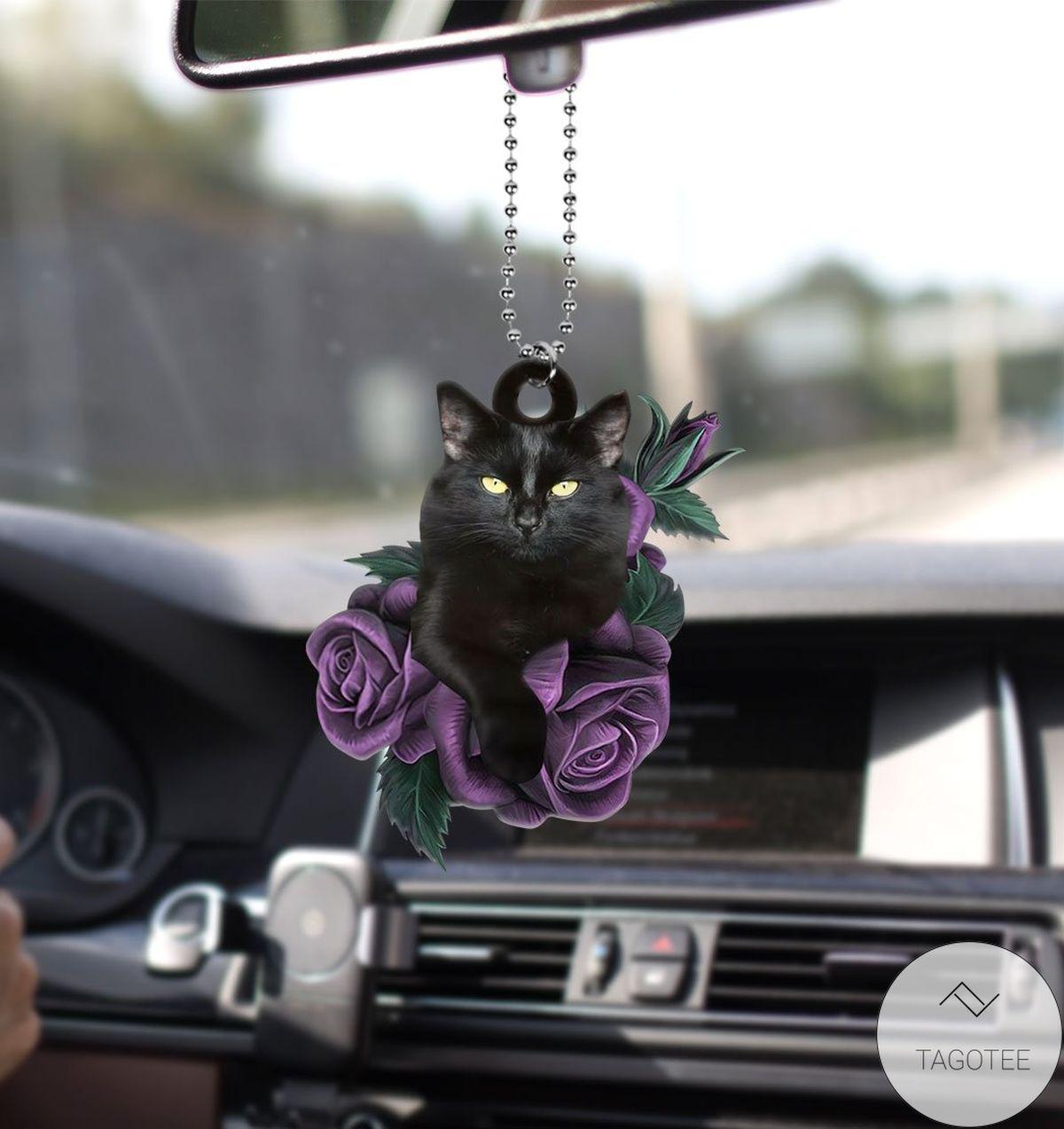 Amazing Black Cat Purple Rose Car Hanging Ornament