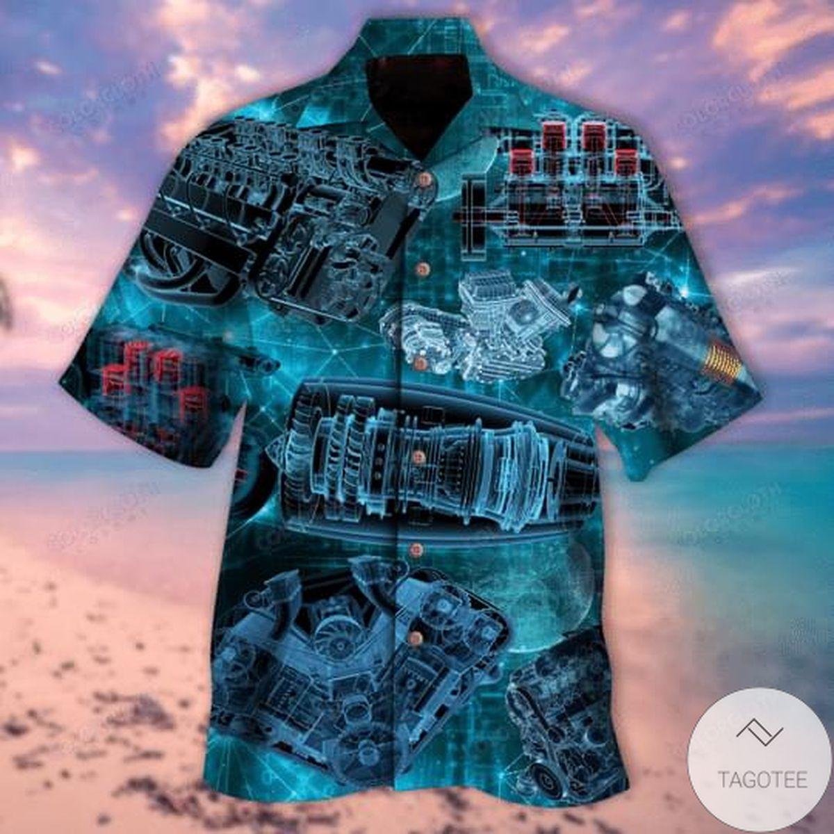 Top Blueprint Engines Unisex Hawaiian Shirt
