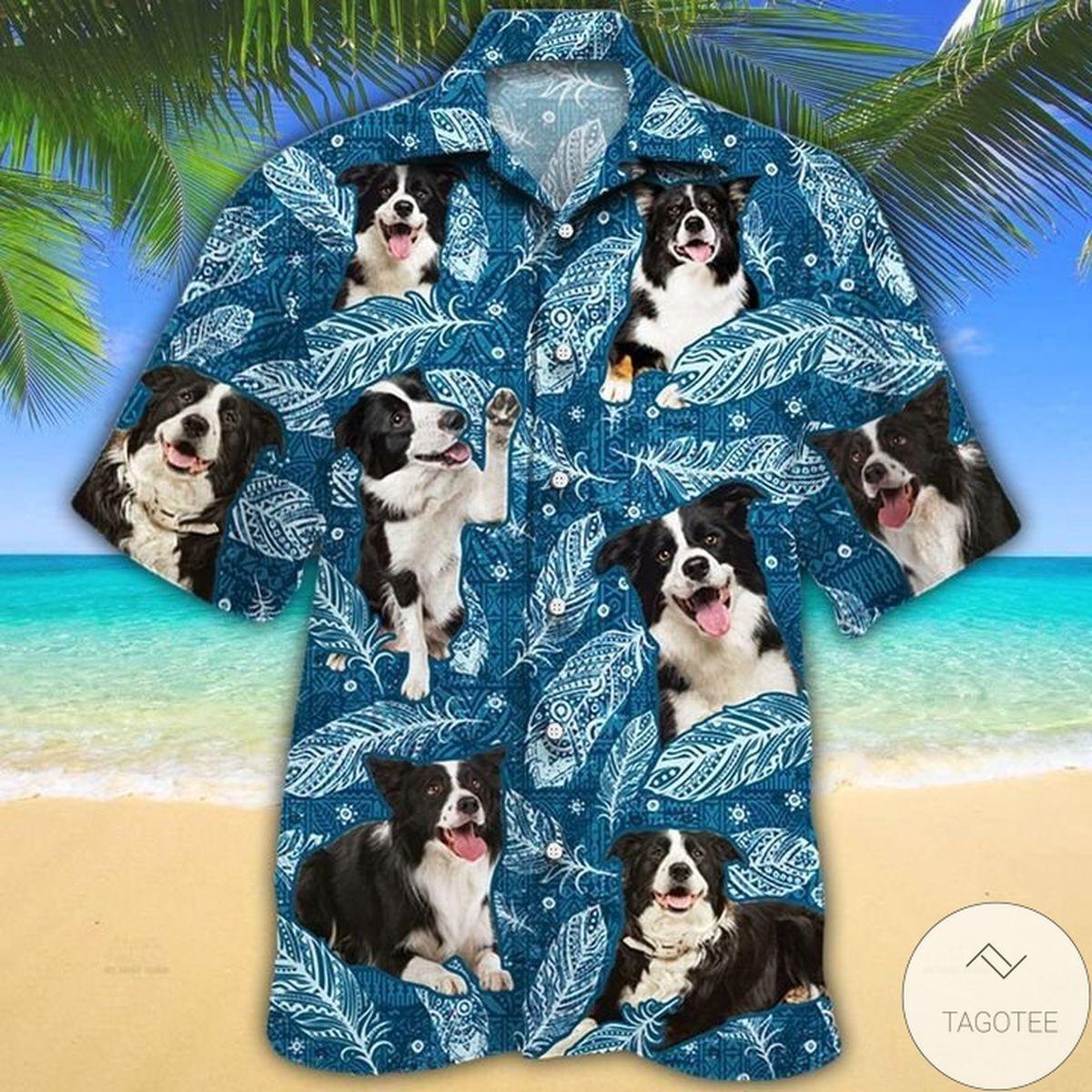 Border Collie Dog Lovers Blue Feather Hawaiian Shirt