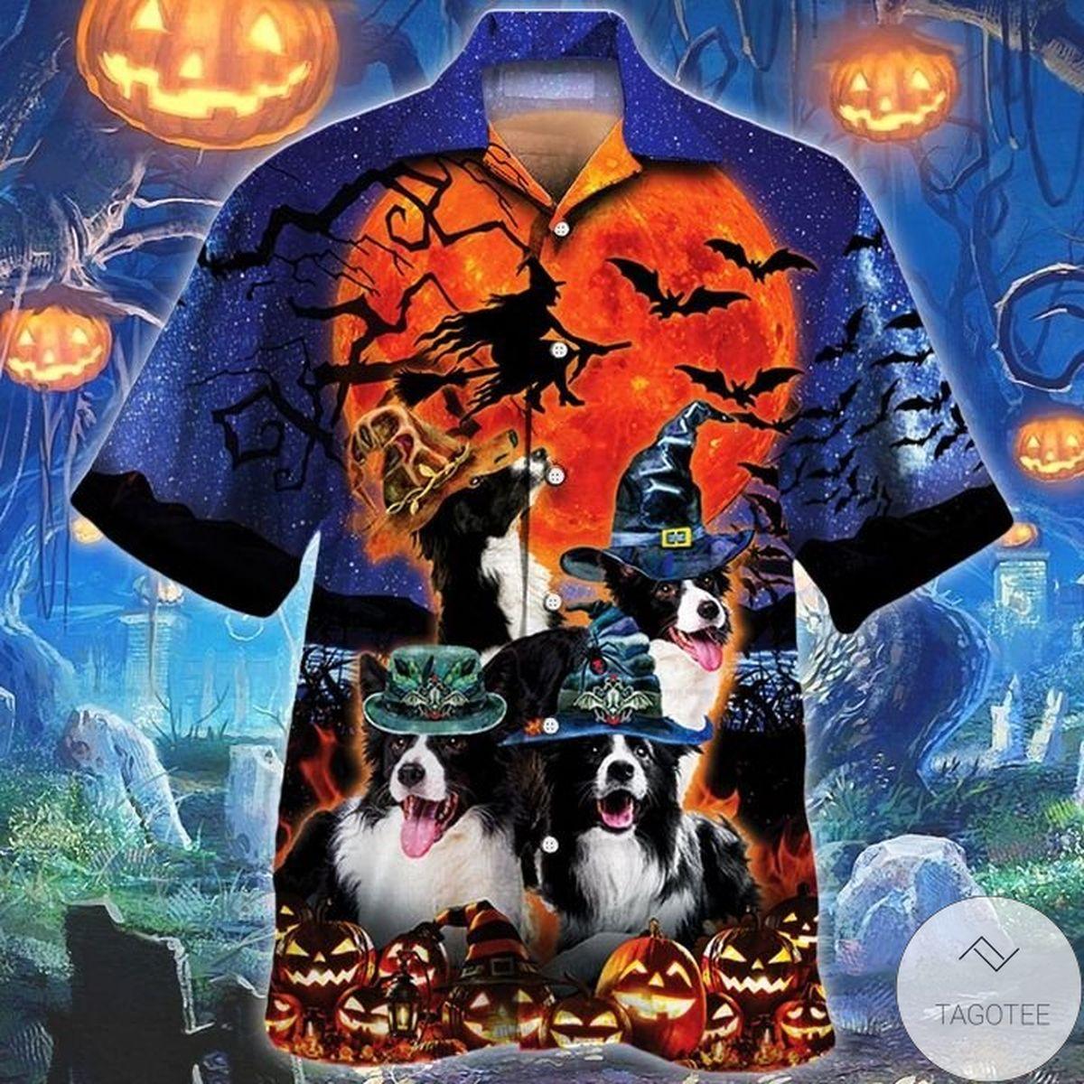 Border Collie Dog Lovers Halloween Night Hawaiian Shirt