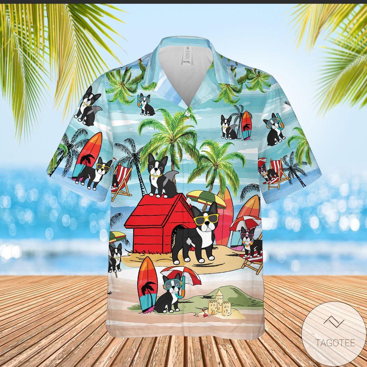 Popular Boston Terrier Playing On Beach Summer Vacation Hawaiian Shirt