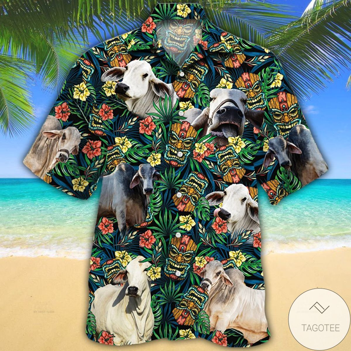 Brahman Cattle Lovers Tribal Tiki Mask Hawaiian Shirt