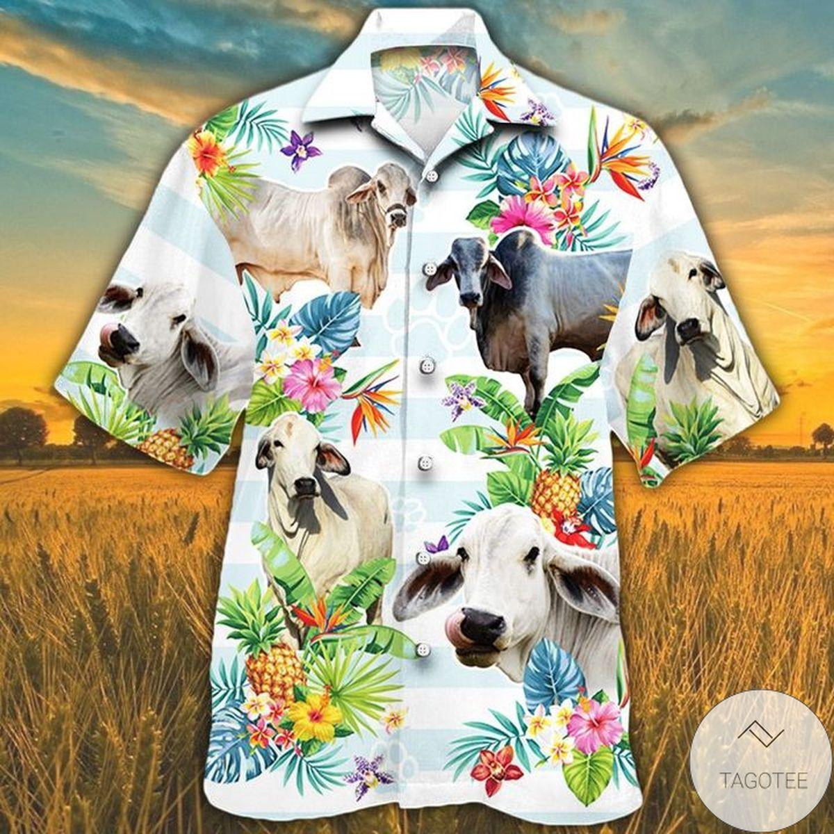 Brahman Cattle Lovers Tropical Flower Hawaiian Shirt