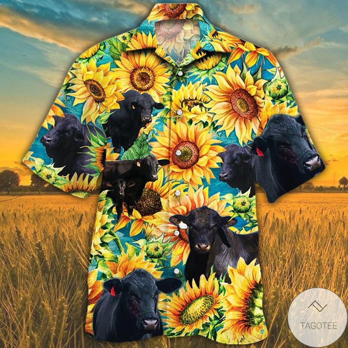 Brangus Cattle Lovers Sunflower Watercolor Hawaiian Shirt