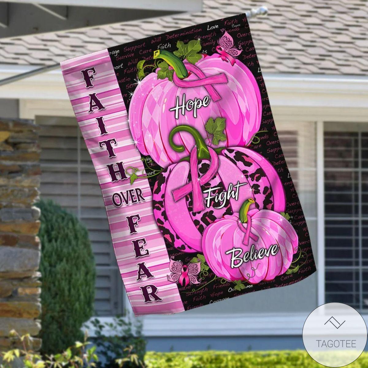 Popular Breast Cancer Awareness Pink Pumpkins Faith Over Fear House Flag