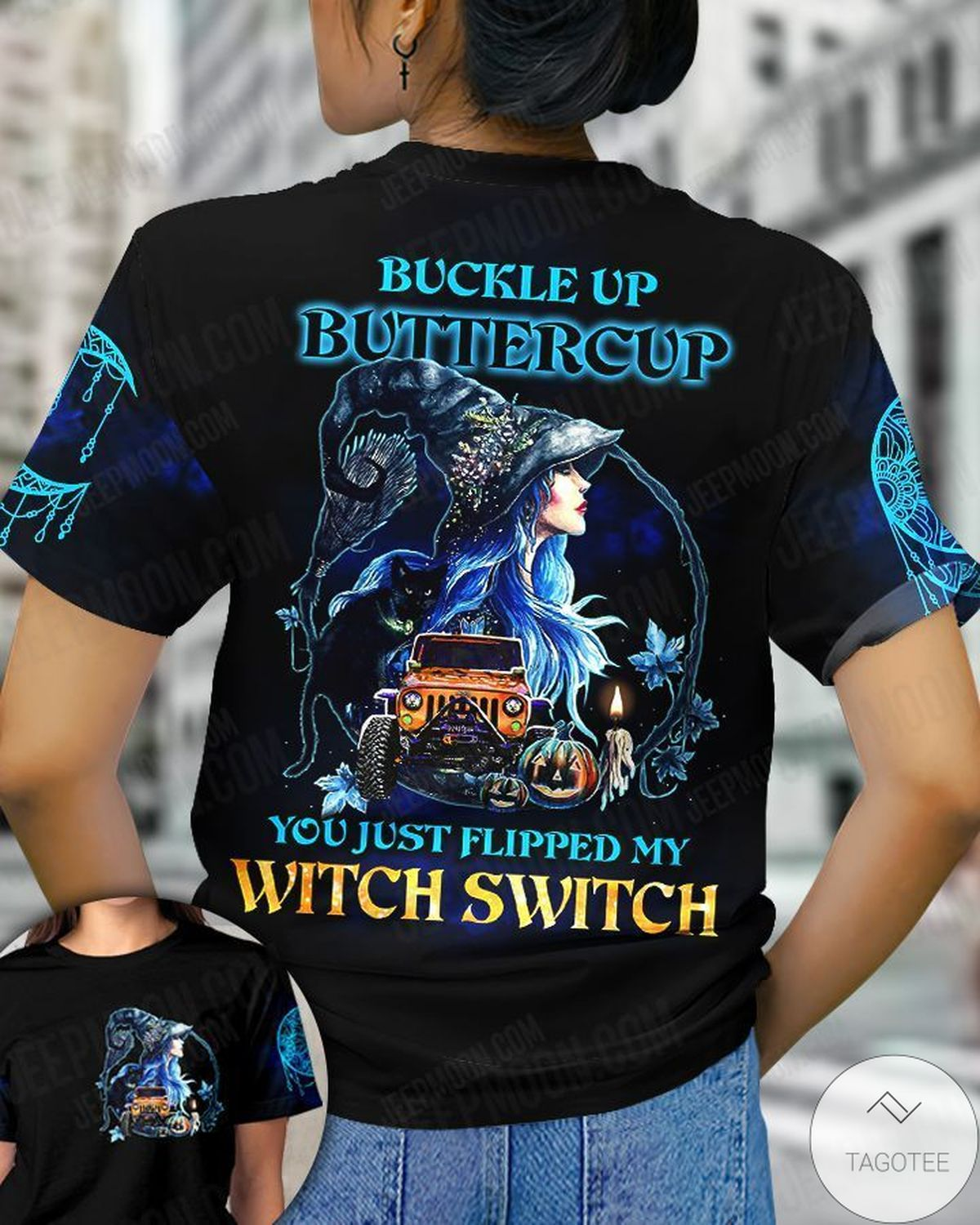 Father's Day Gift Buckle Up Buttercup You Just Flipped My Witch Jeep Halloween T-shirt