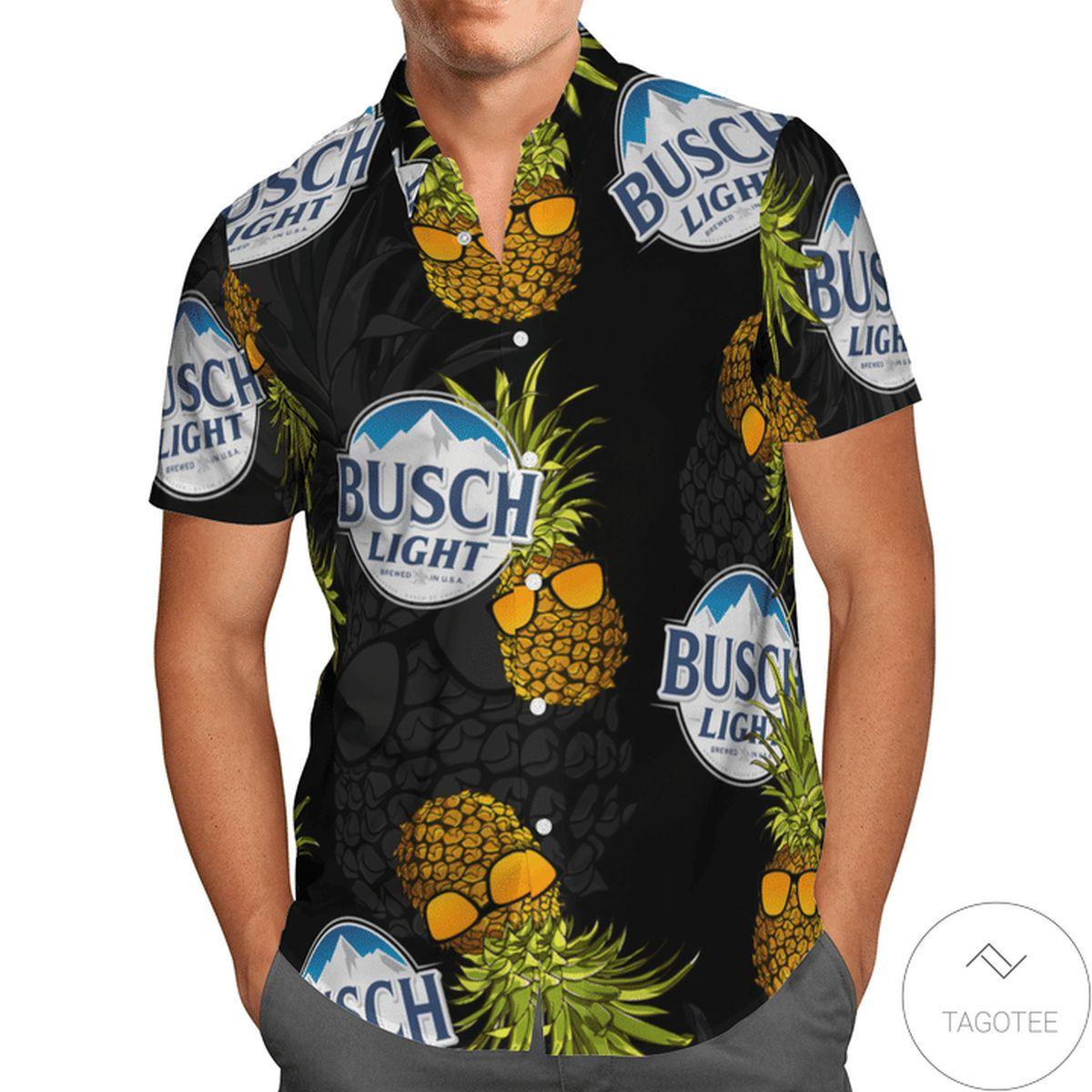 Luxury Busch Light Pineapple Black Hawaiian Shirt