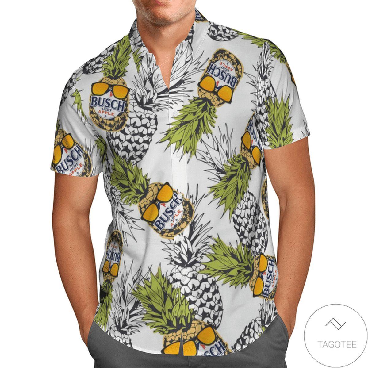 Busch Light Pineapple White Hawaiian Shirt
