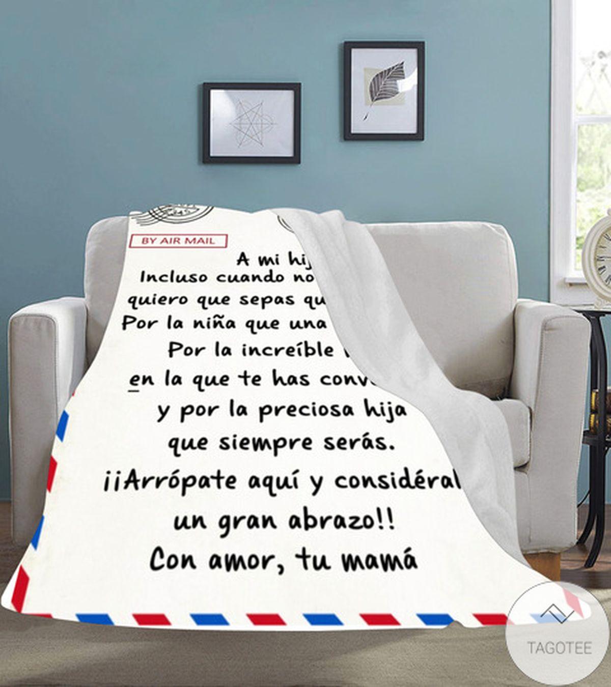 By Air Mail A Mi Hija Com Amor Tu Mama Fleece Blanketz