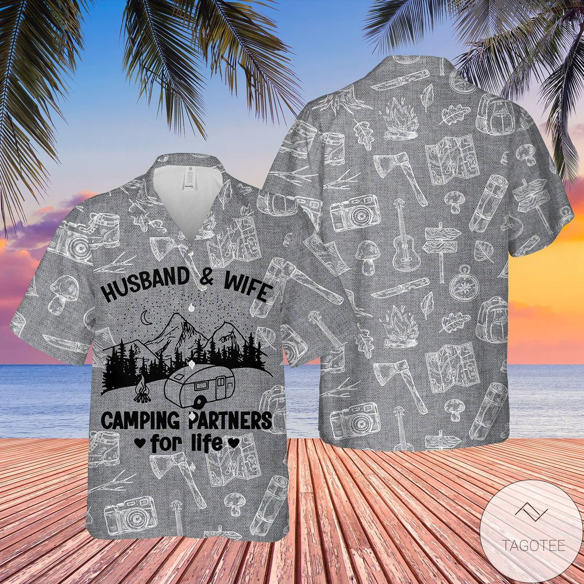 Print On Demand Camping Husband And Wife Partners For Life Hawaiian Shirt