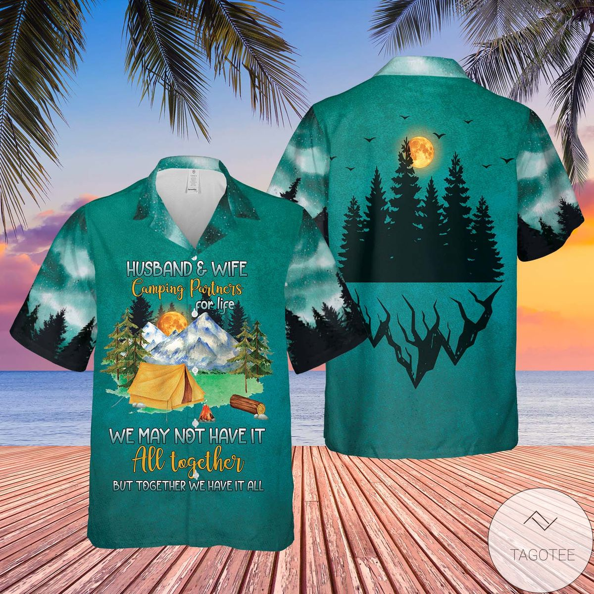 Camping Husband and Wife Partners For Life Together Have It All Hawaiian Shirt