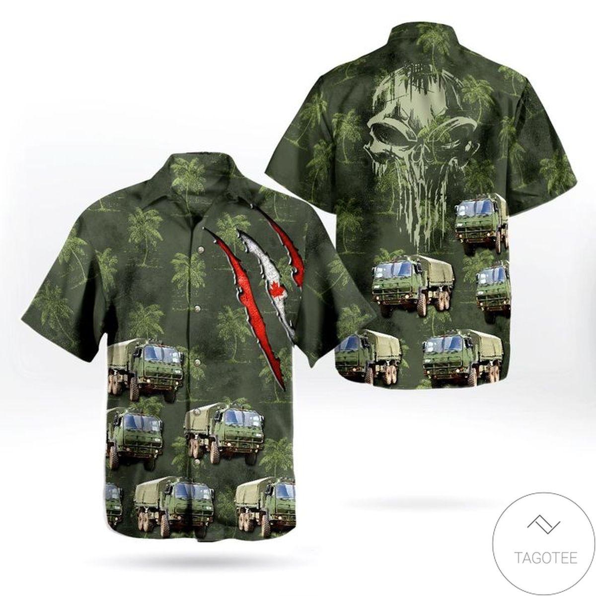 Canadian Army Heavy Logistics Vehicle Wheeled Hawaiian Shirt
