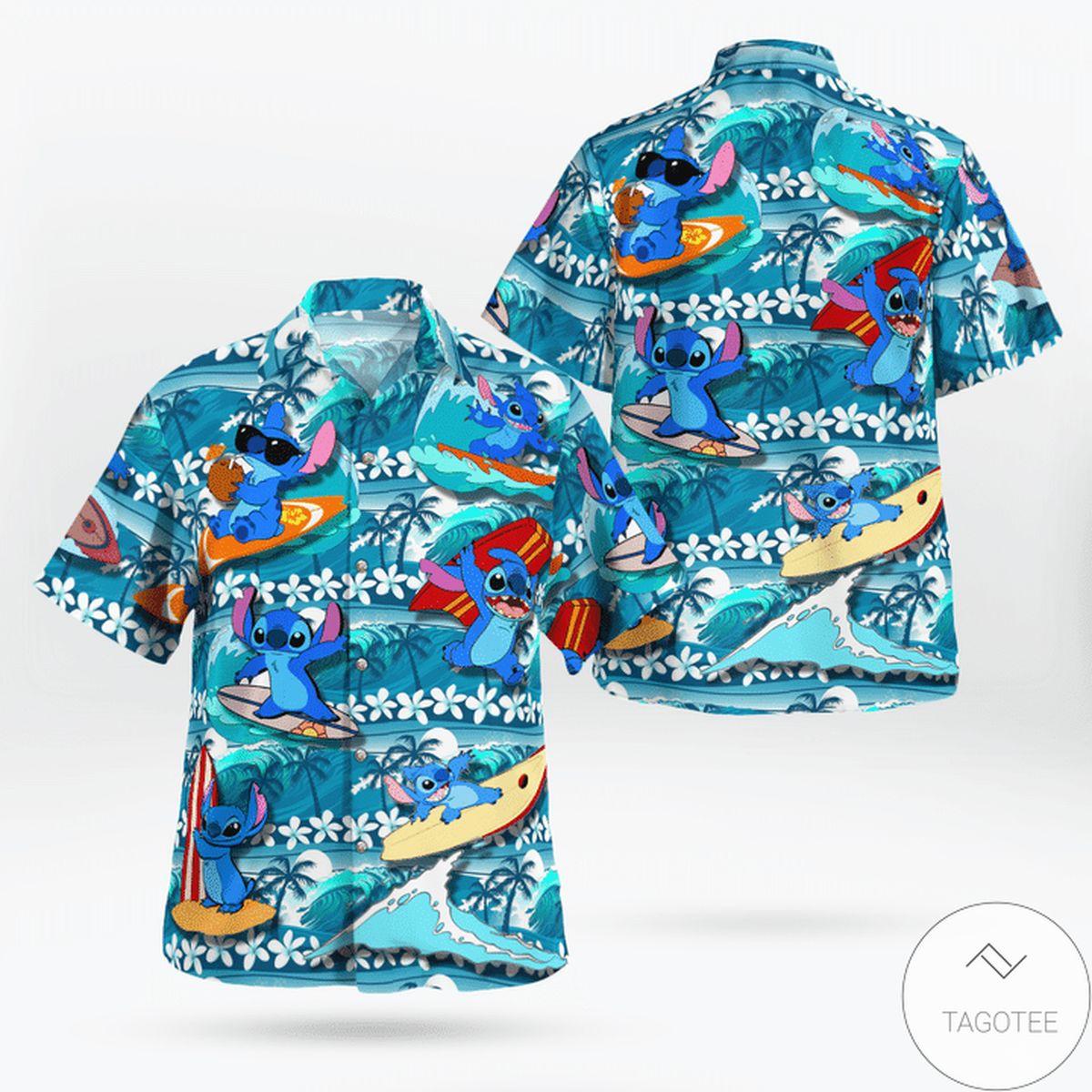 Vibrant Catching Waves Soakin' Ray Stich Funny Sulfing Hawaiian Shirt