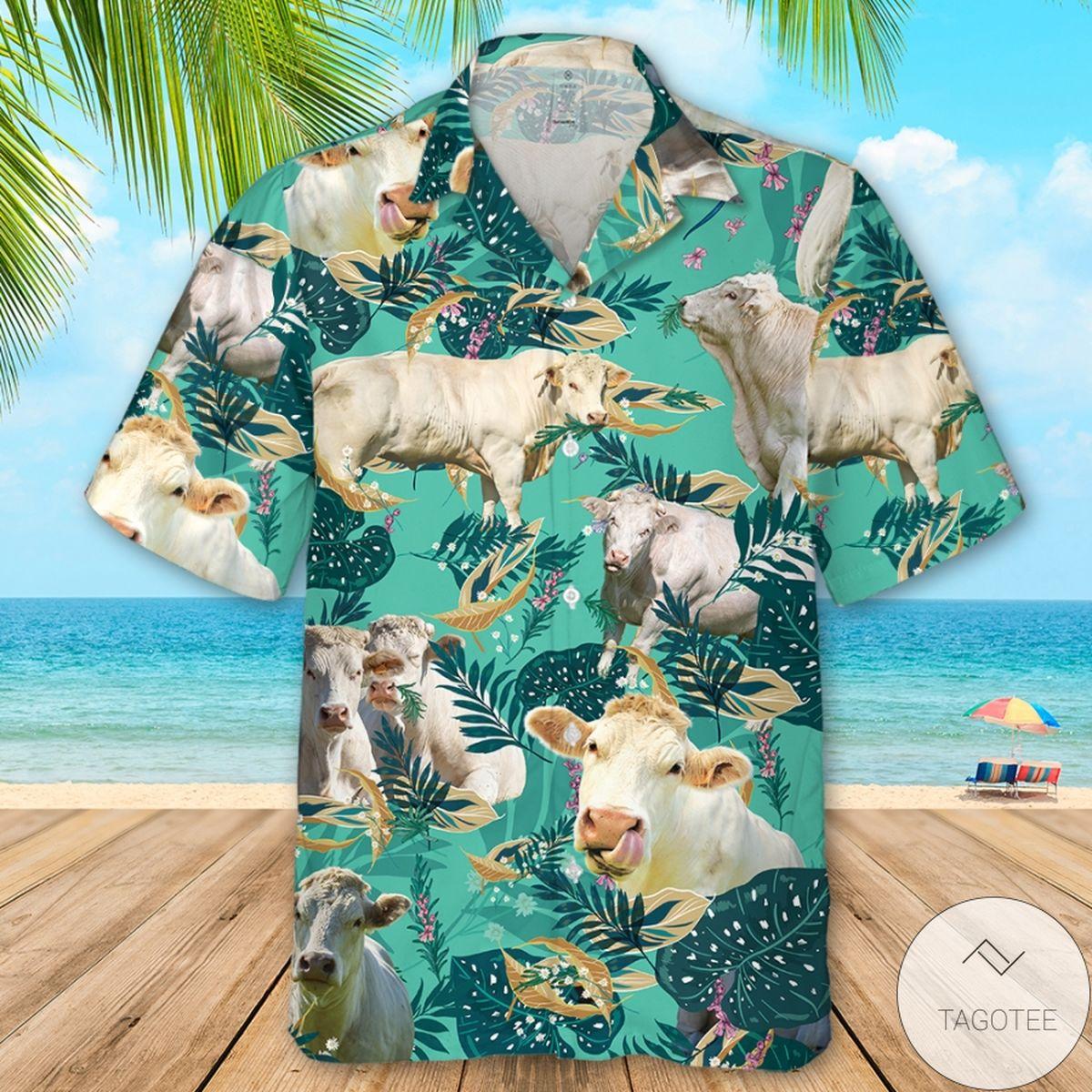 Charolais Cattle Funny Rosemary Hawaiian Shirt