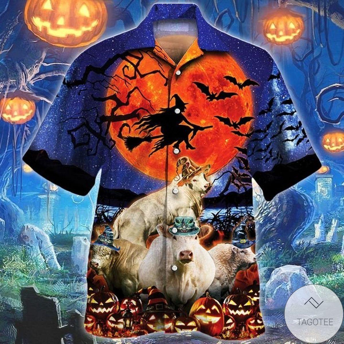 Excellent Charolais Cattle Lovers Halloween Night Hawaiian Shirt