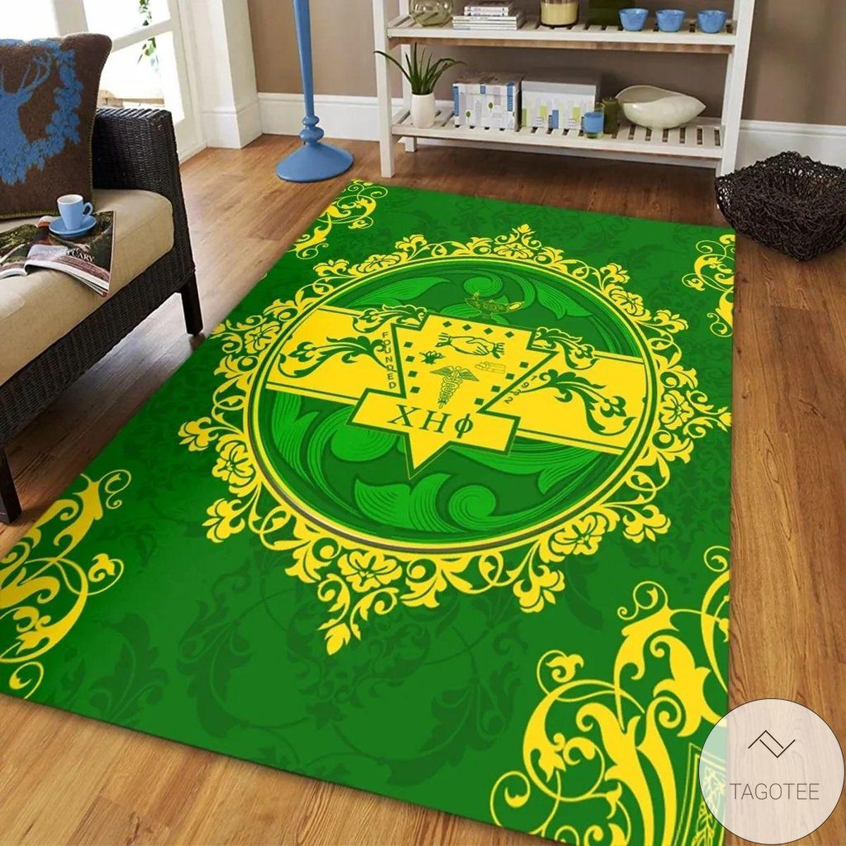 Chi Eta Phi 1932 Emblem Lemon Yellow Mandala Circle Green Background Rugz