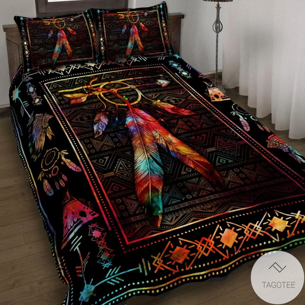 eBay Color Feather Native American Quilt Bedding Set