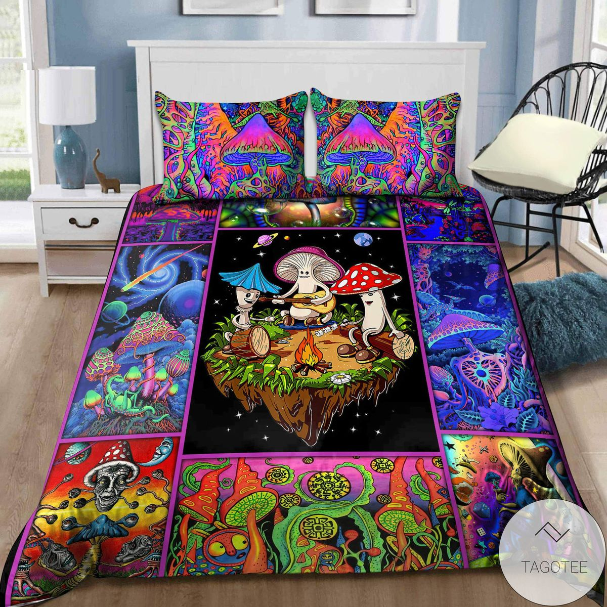 Colorful Mushroom Hippie Bedding Setc