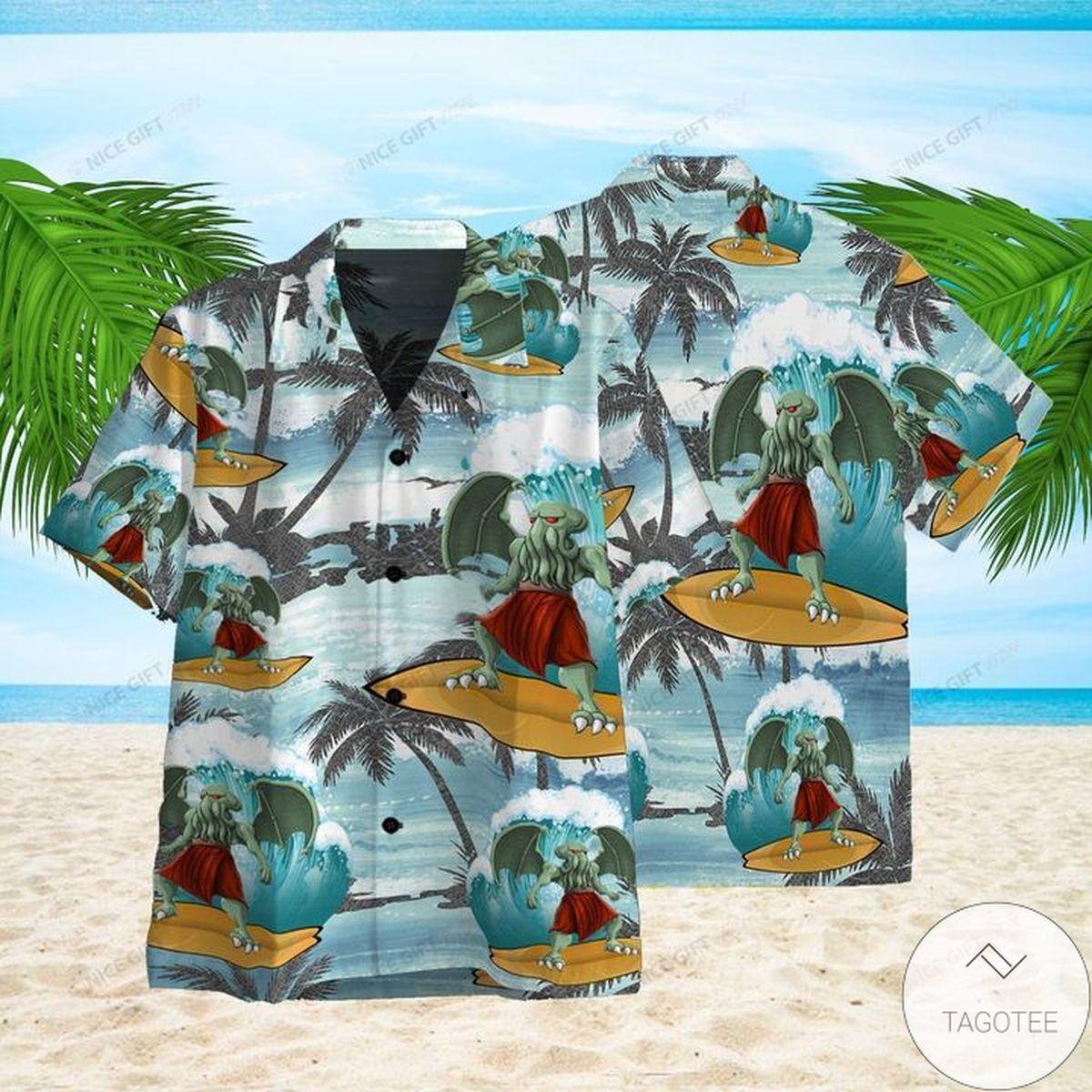 Mother's Day Gift Cthulhu Surfing Hawaiian Shirt