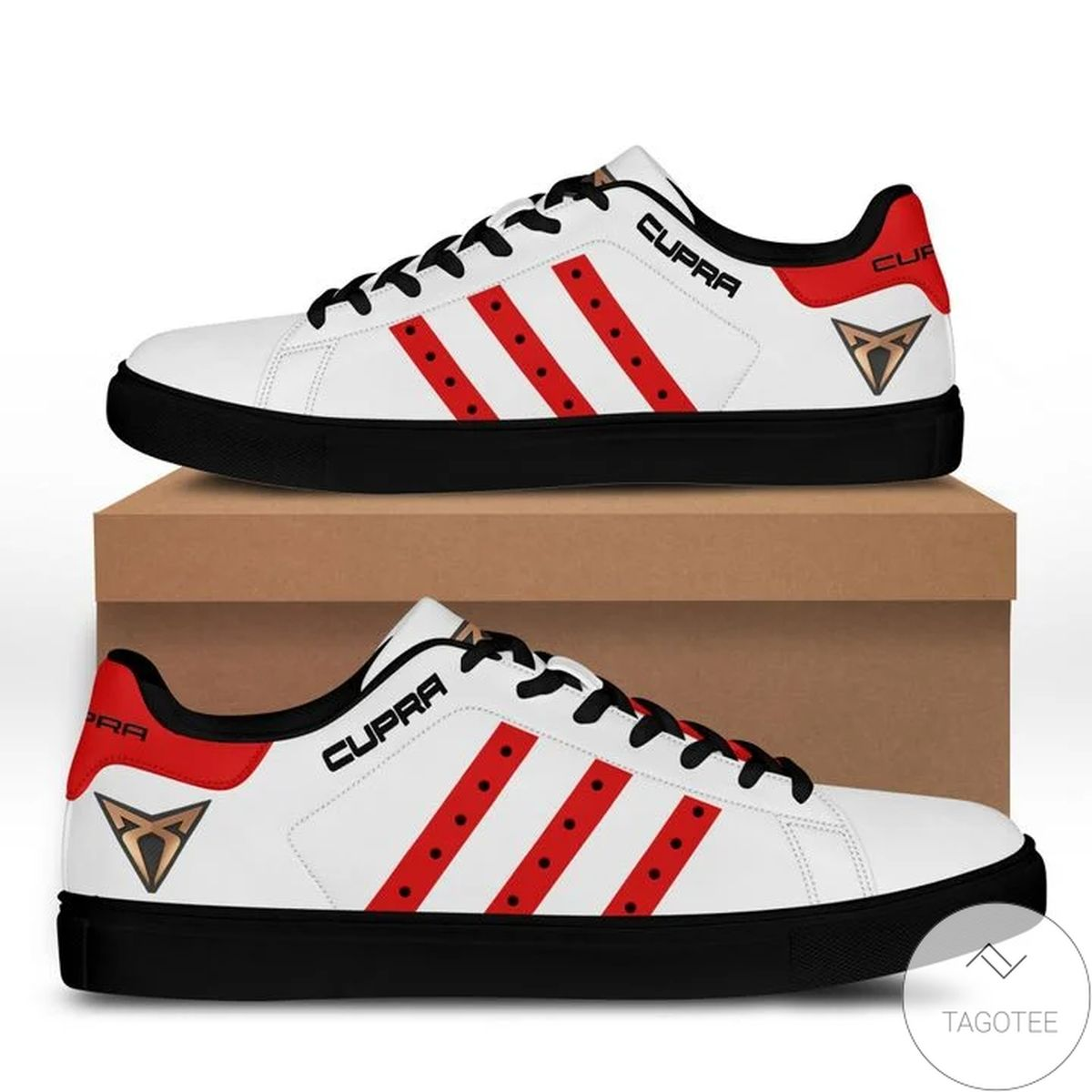 Cupra White And Red Stan Smith Shoes