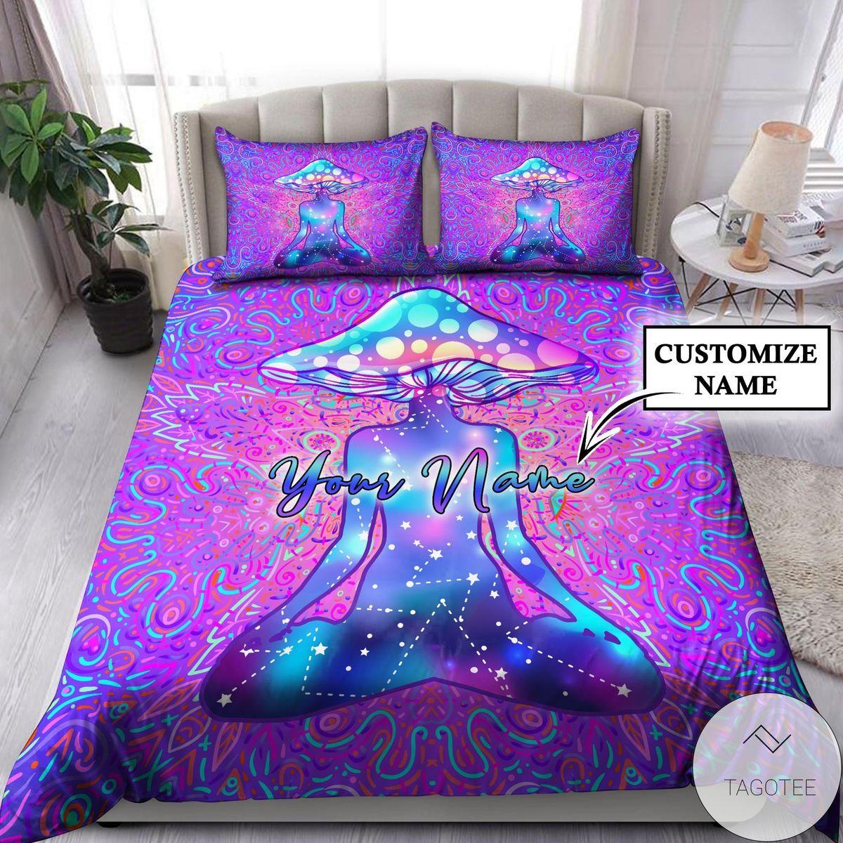 Fantastic Customize Name Mushroom Hippie Bedding Set