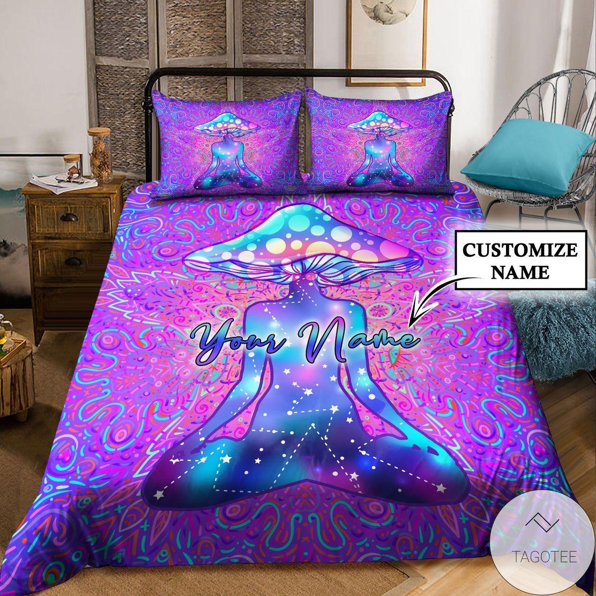 Customize Name Mushroom Hippie Bedding Setc