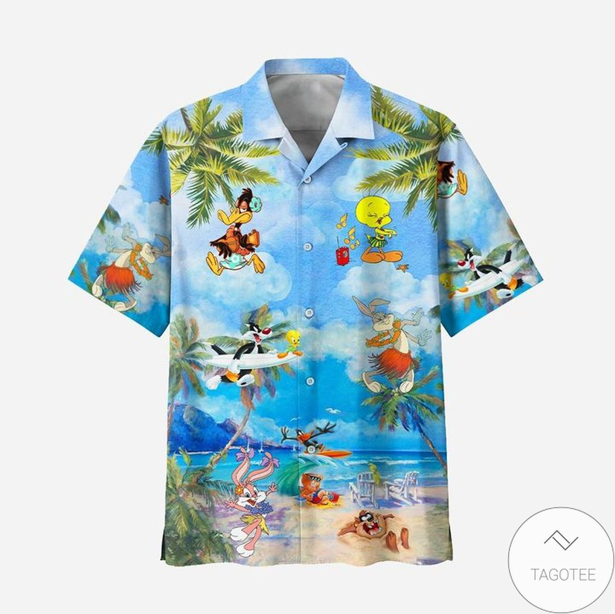 Daffy Duck, Tweety, Sylvester, Yosemite Sam, Porky Pig, Cartoon Beach Hawaiian Shirt