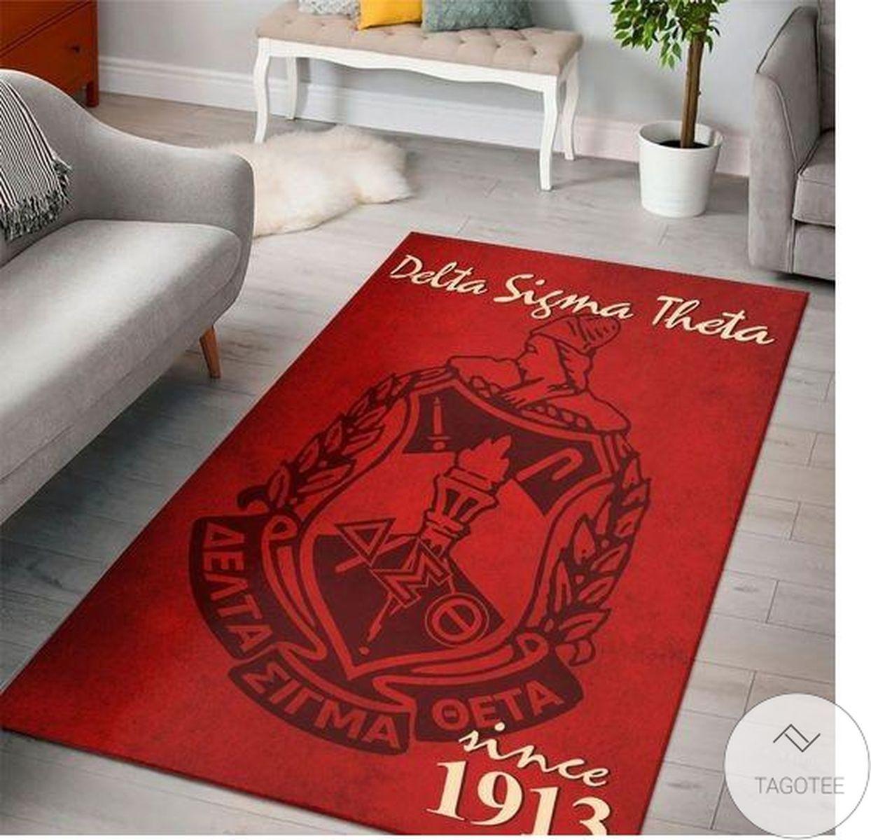Where To Buy Delta Sigma Theta Since 1913 Soror Inc Crest Crimson Background Rug