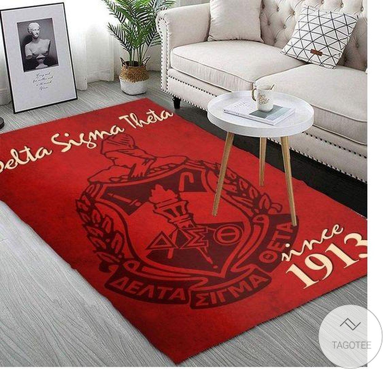 Hot Deal Delta Sigma Theta Since 1913 Soror Inc Crest Crimson Background Rug