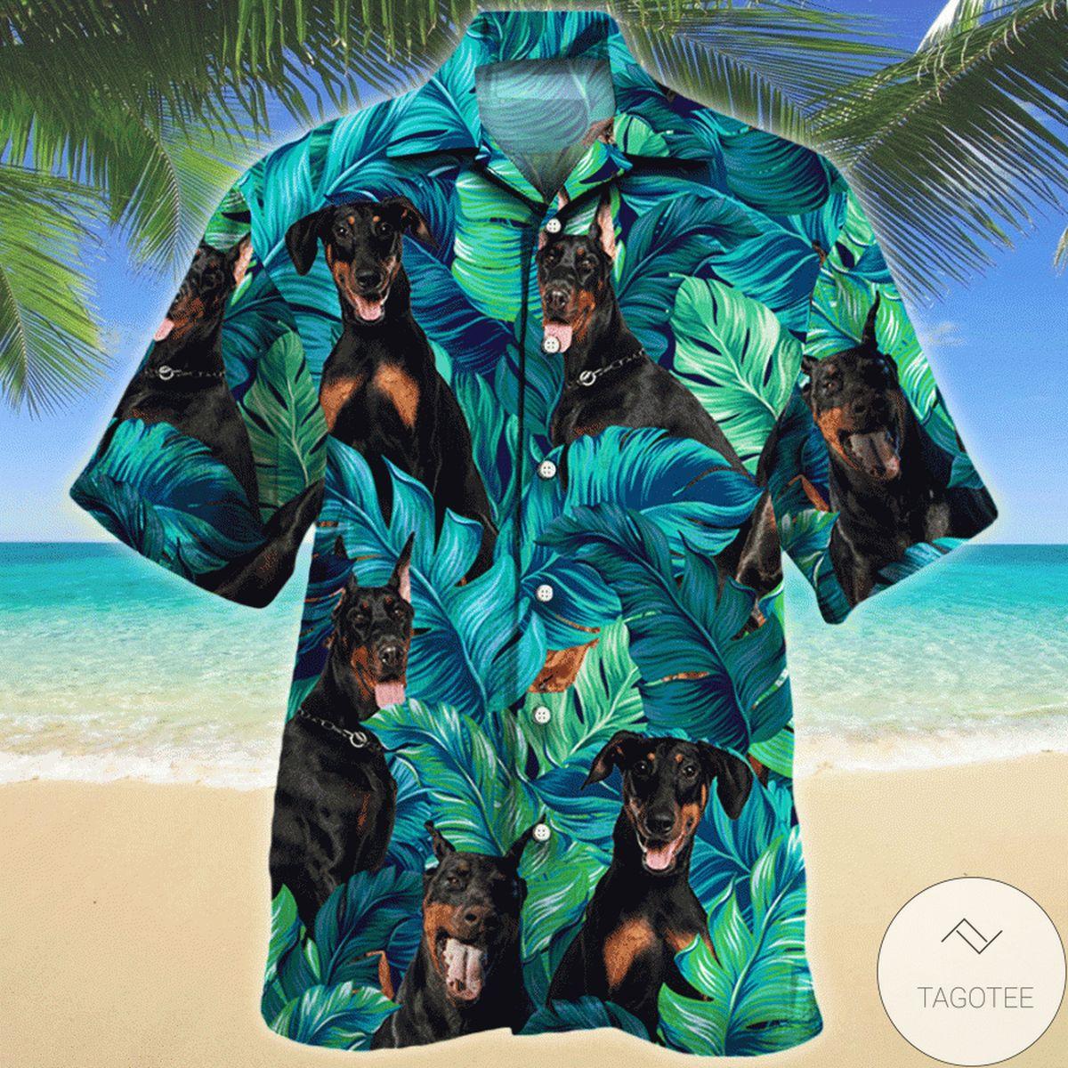 New Doberman Pinscher Tropical Hawaiian Shirt