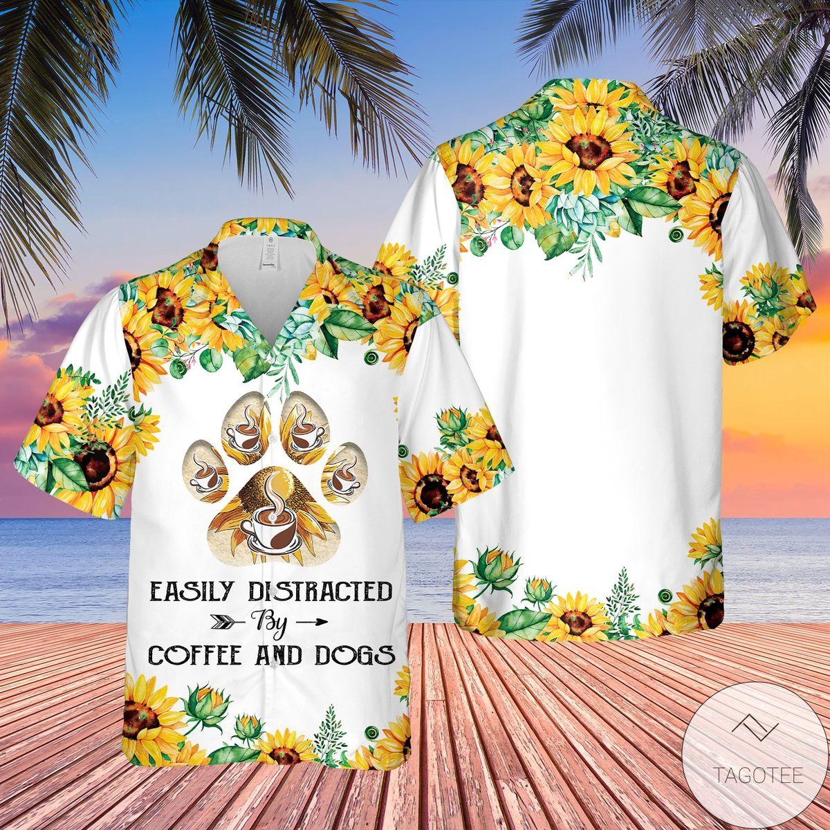 Rating Dog And Coffee Easily Distracted Hawaiian Shirt