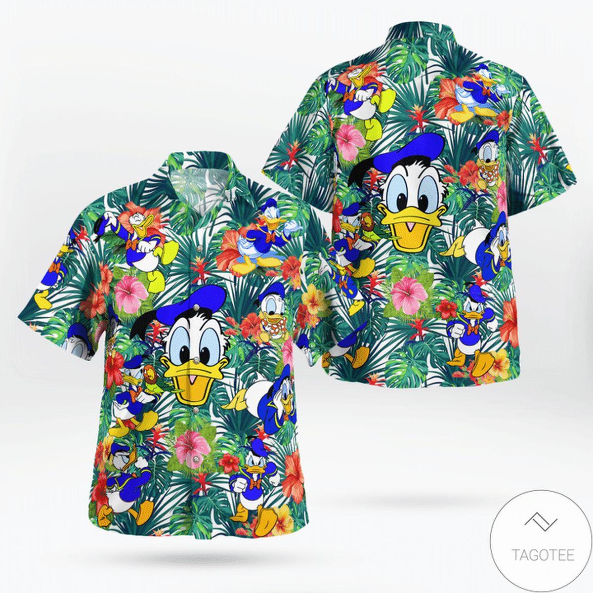 Funny Tee Donald Duck Funny FLower Hawaiian Shirt