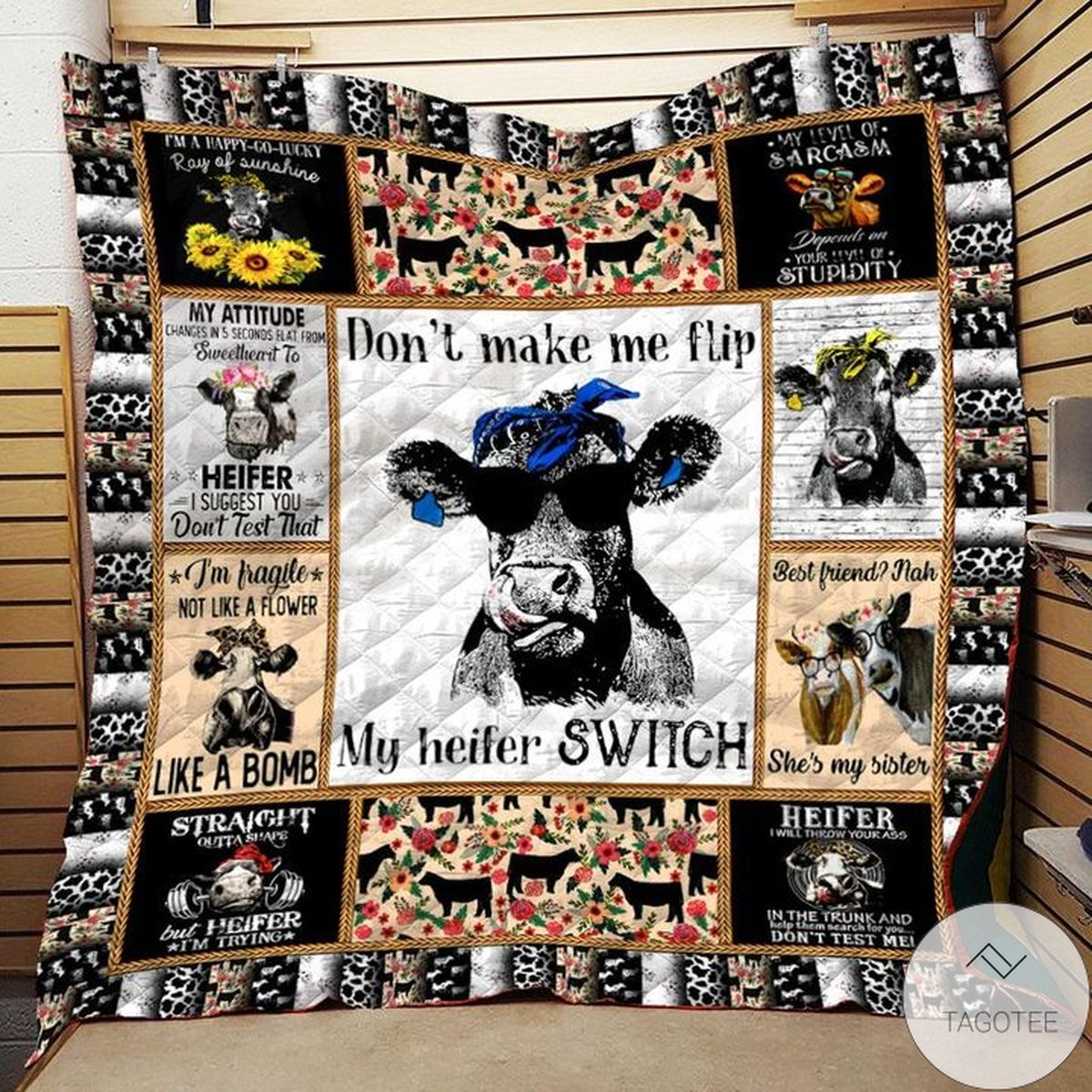 Nice Don't Make Me Flip My Witch Switch Cow Quilt
