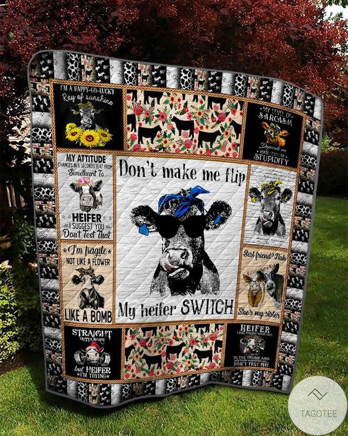 Ships From USA Don't Make Me Flip My Witch Switch Cow Quilt