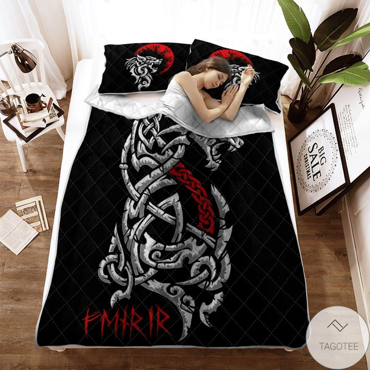 Dragon Fenrir - Viking Black Quilt Bedding Set