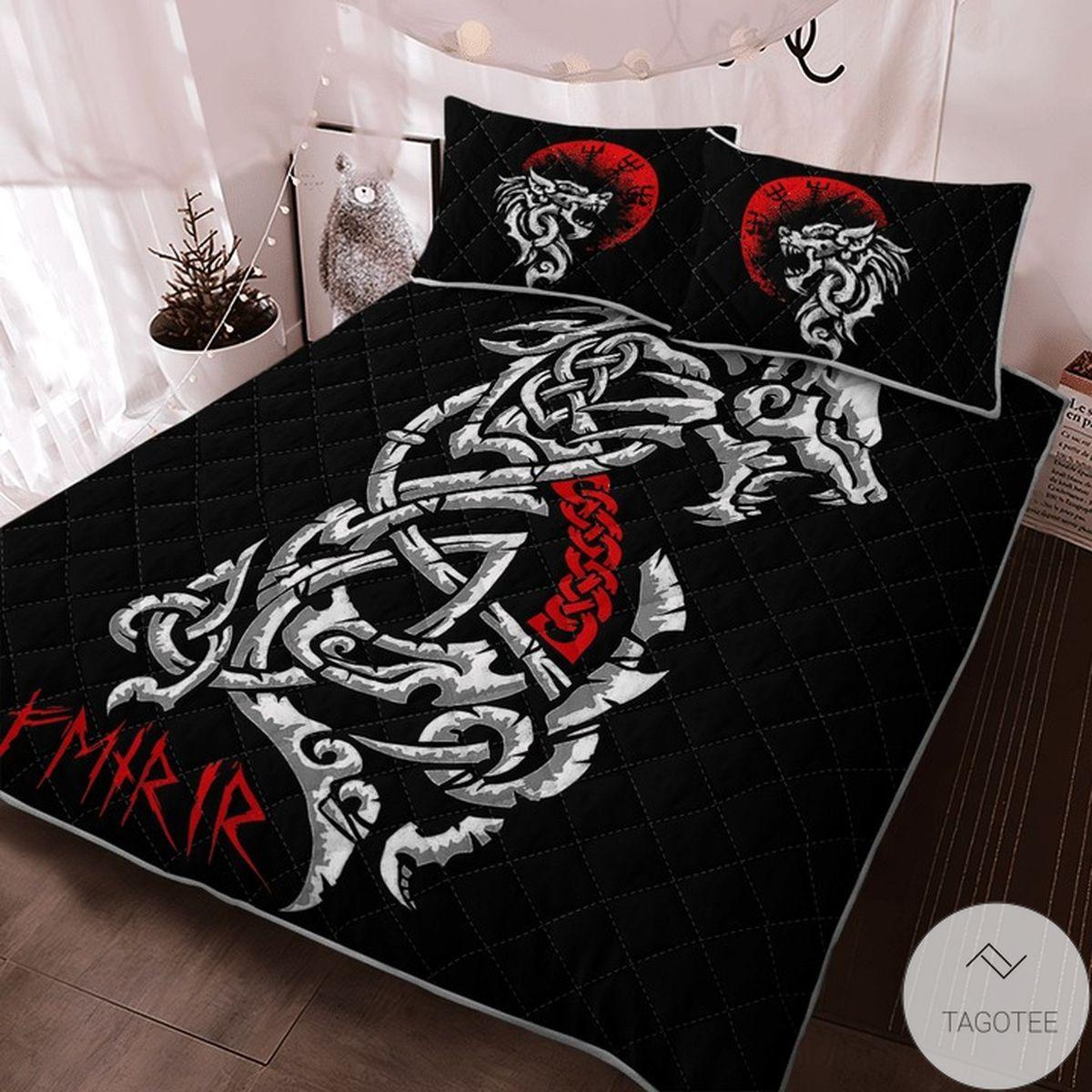Father's Day Gift Dragon Fenrir - Viking Black Quilt Bedding Set