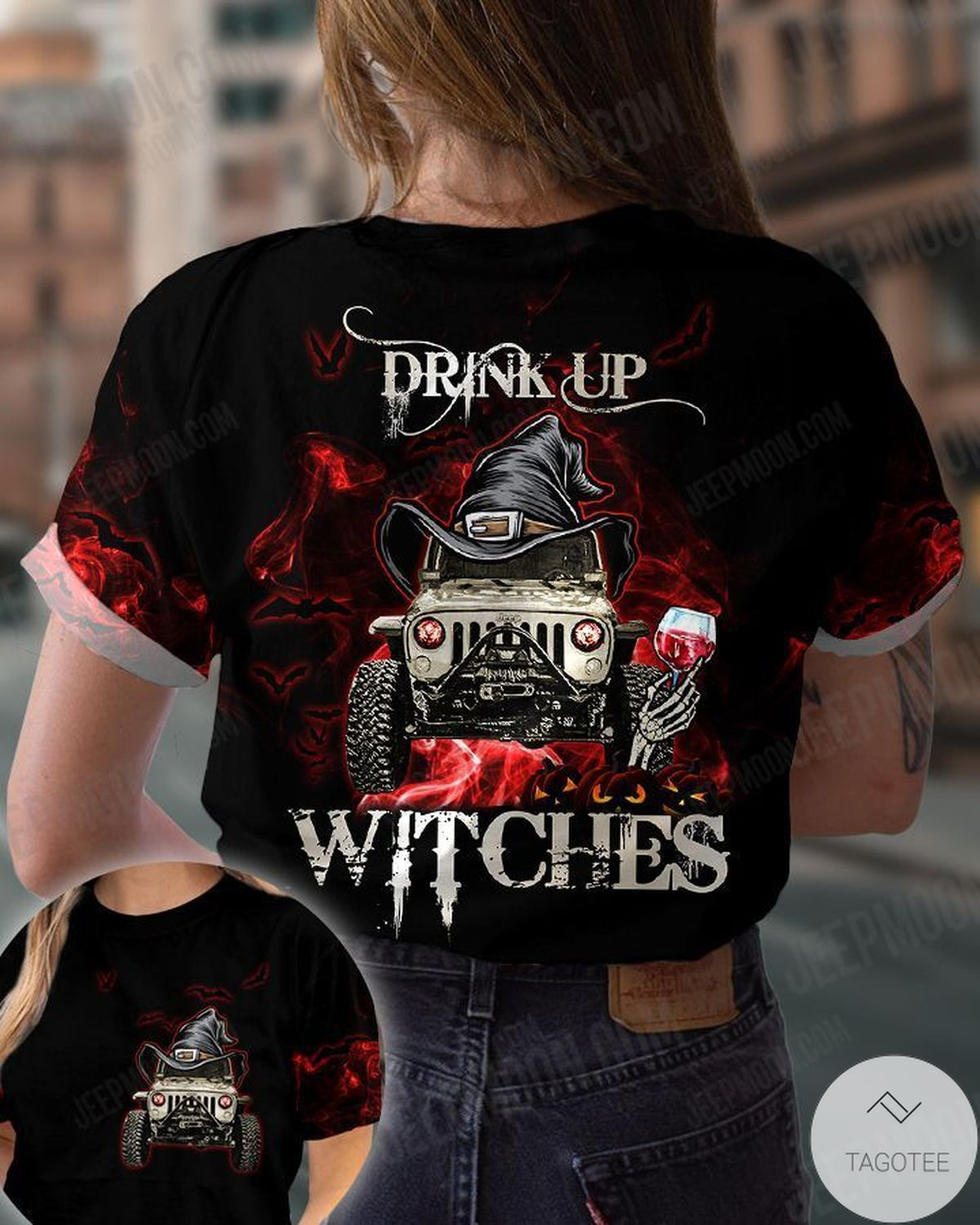 Print On Demand Drink Up Witches Jeep Shirt