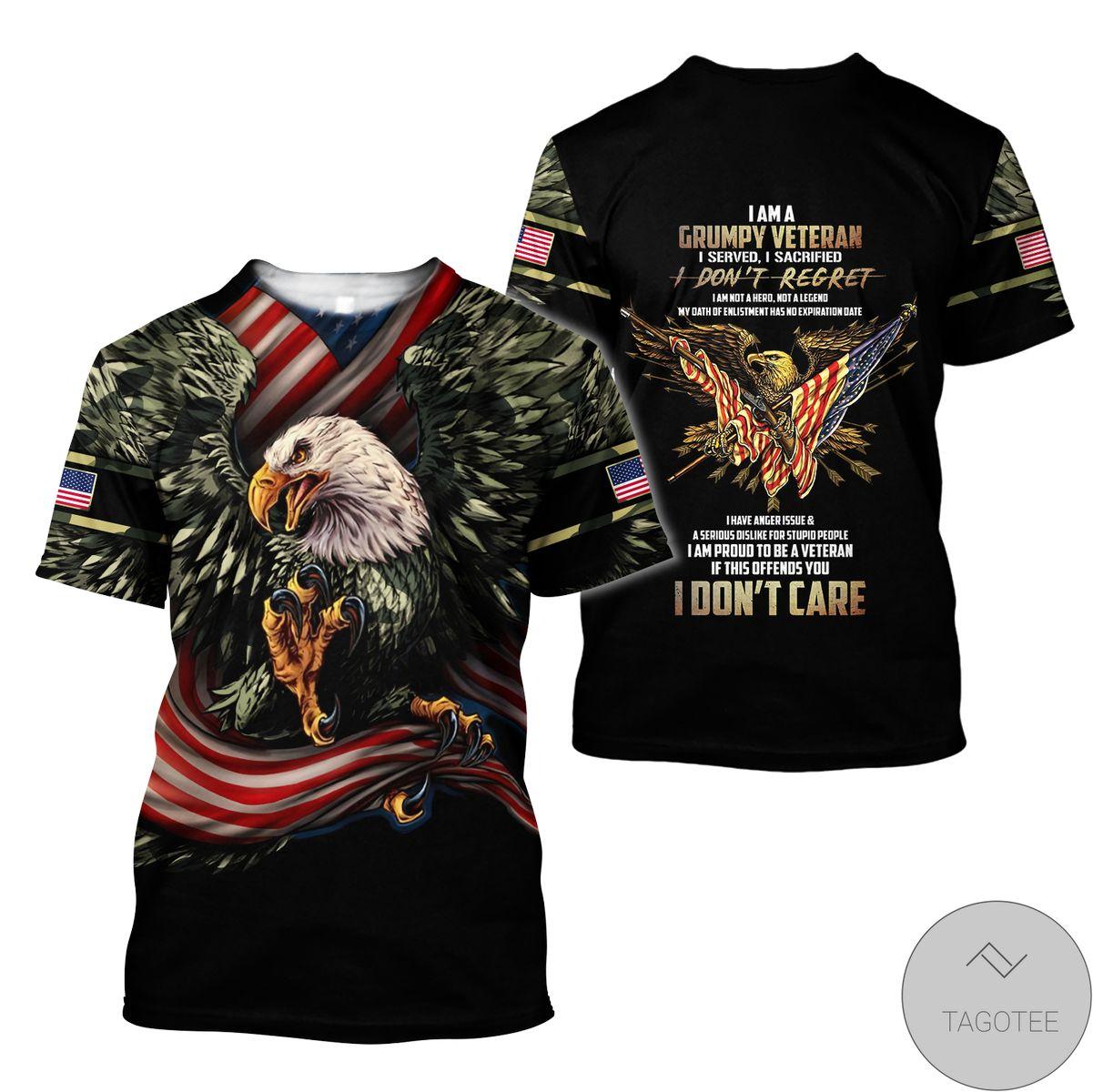Very Good Quality Eagle Us Grumpy Veteran 3D All Over Print Hoodie