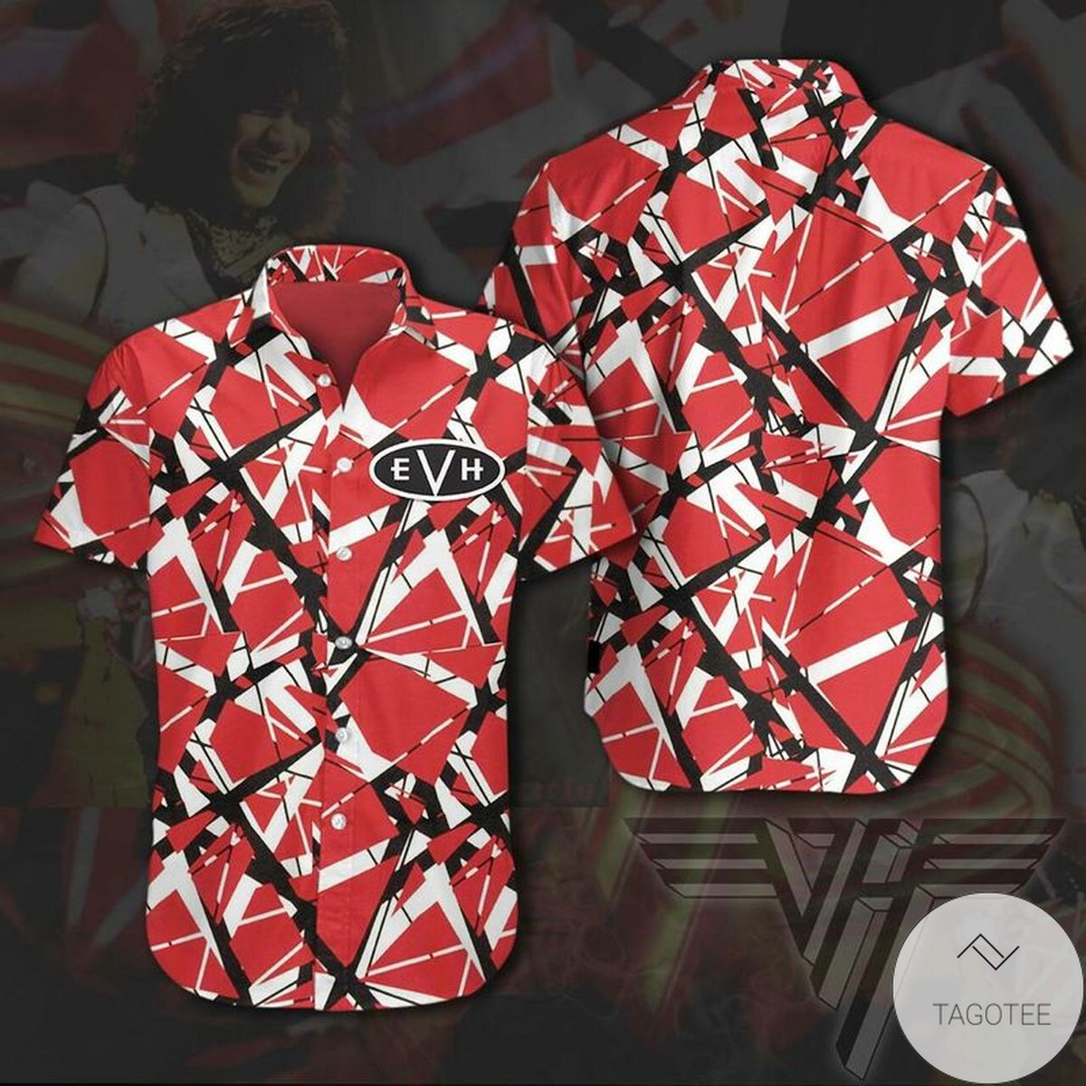 Eddie Van Halen Striped Hawaiian Shirt