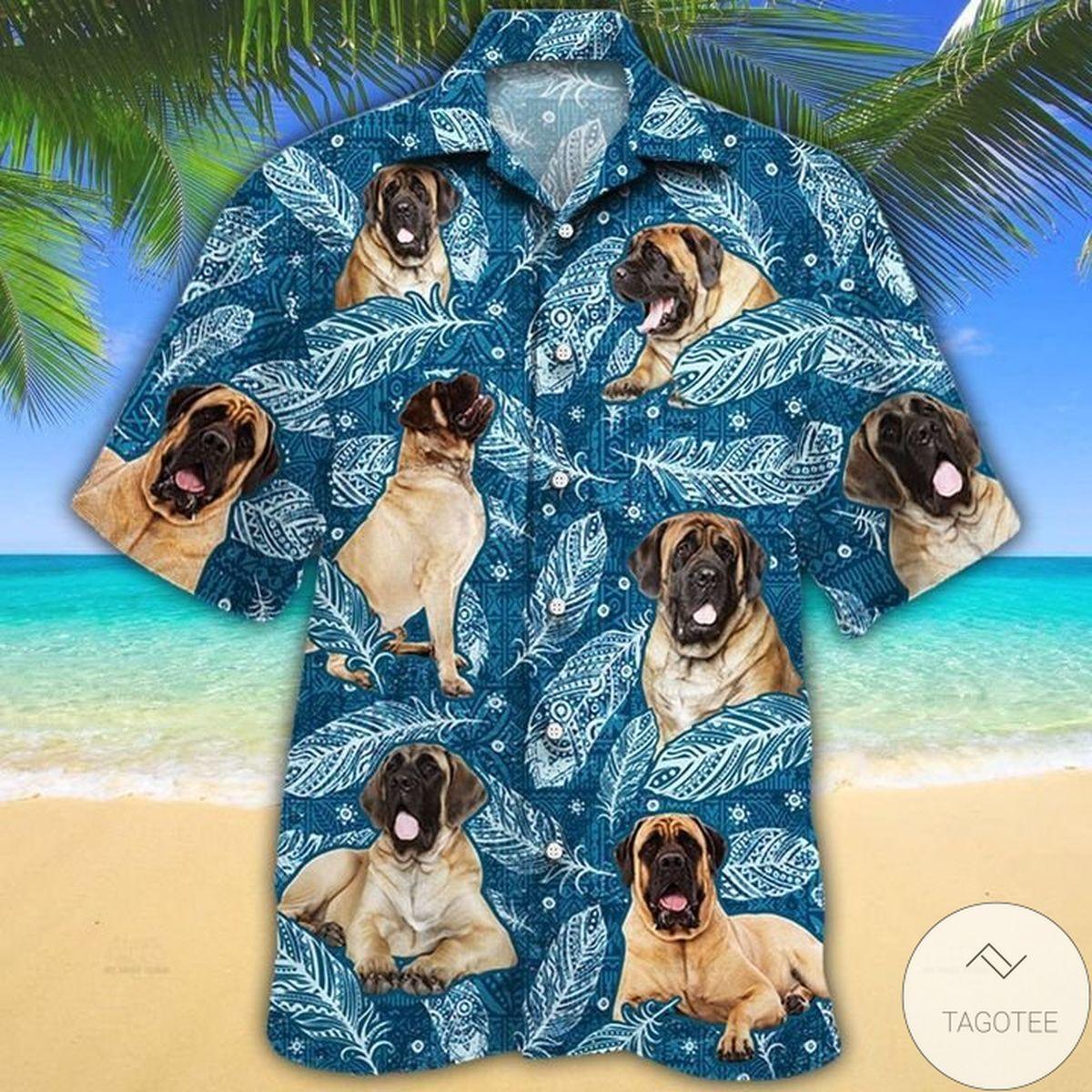English Mastiff Dog Lovers Blue Feather Hawaiian Shirt