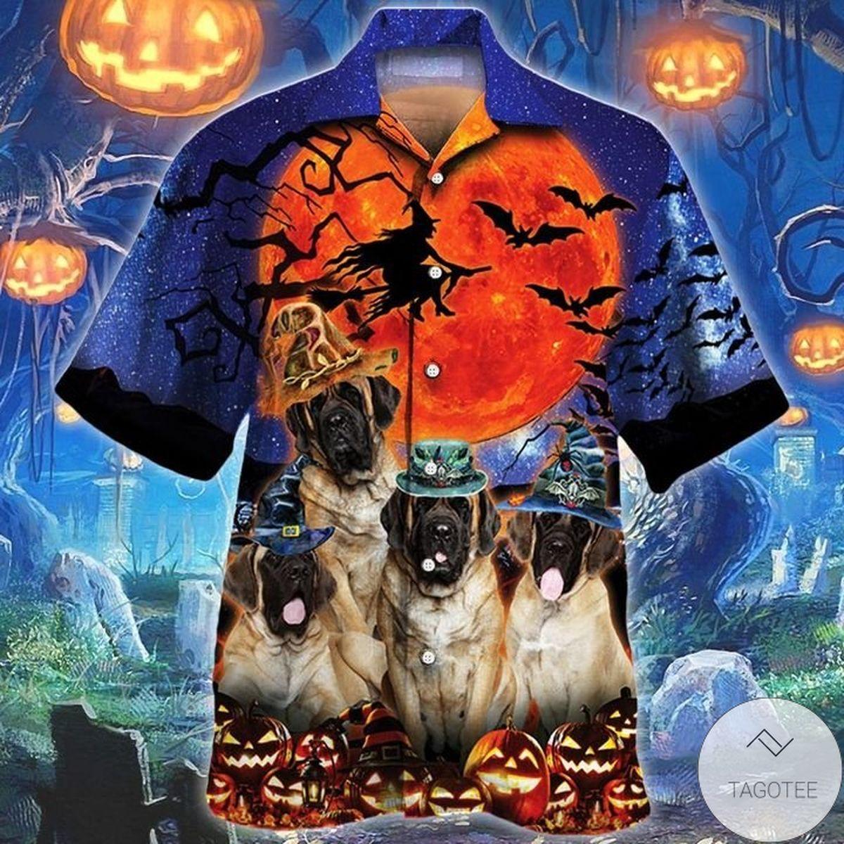 English Mastiff Dog Lovers Halloween Night Hawaiian Shirt