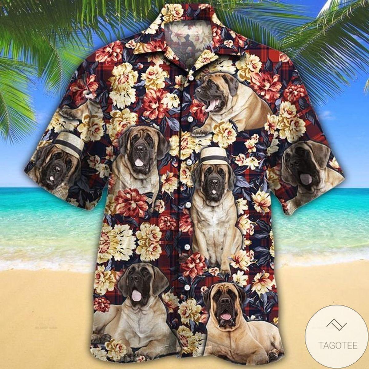 English Mastiff Dog Lovers Red Plaid Pattern Hawaiian Shirt
