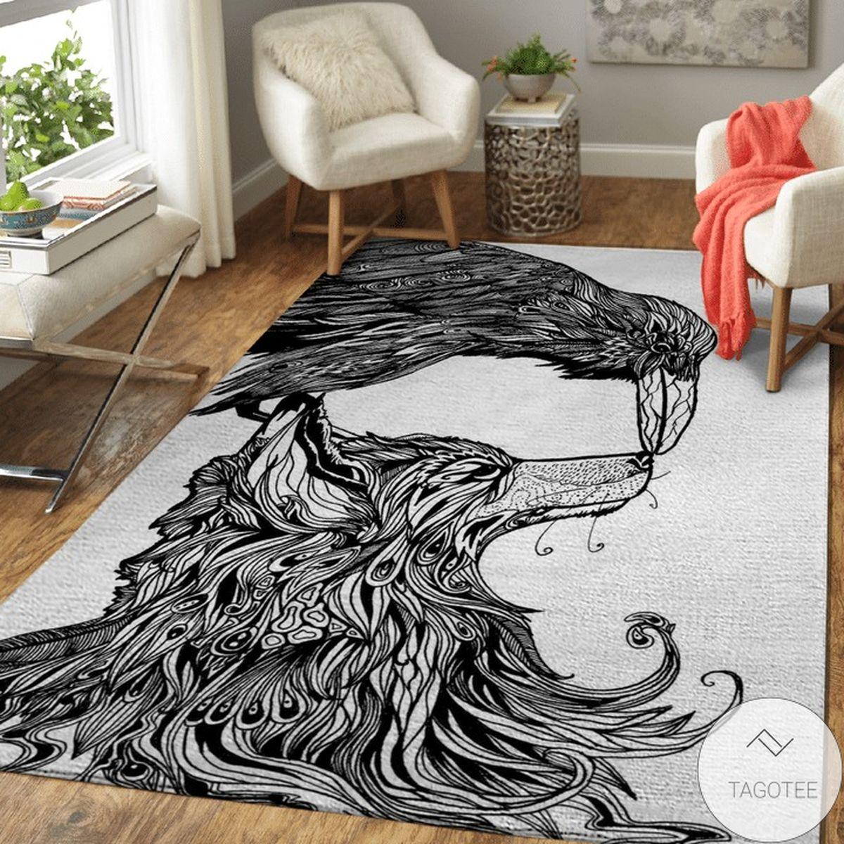 Fenrir And Raven Line Art Viking Area Rug