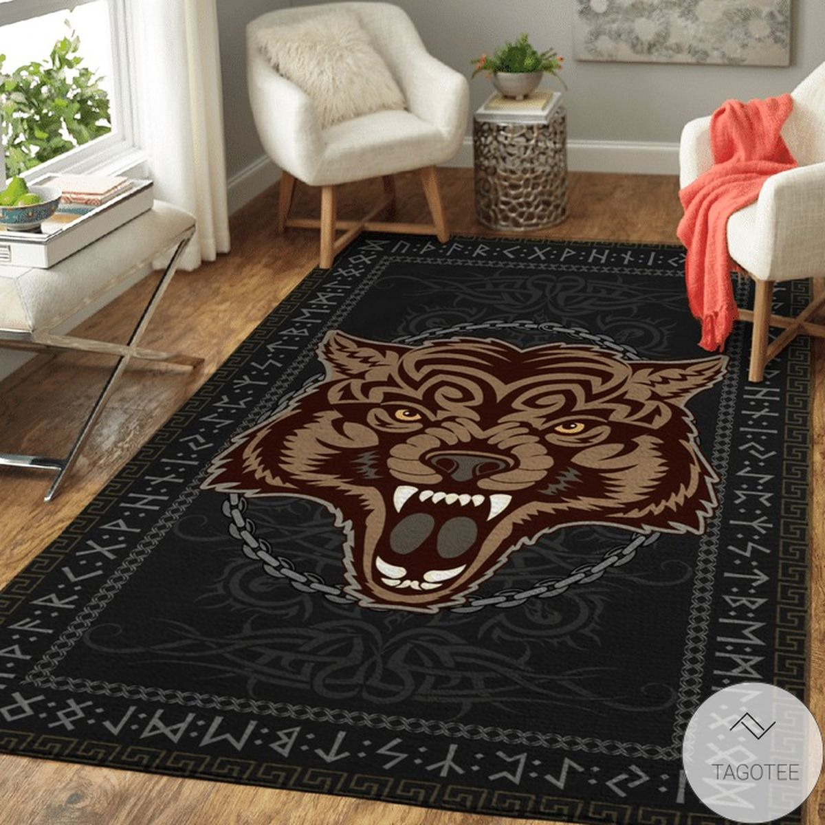 Fenrir Bound By Chains And Sealed By Runic - Viking Area Rug
